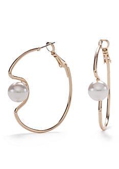 New Directions Gold-Tone Marvelous Pearl Modern Hoop Earrings