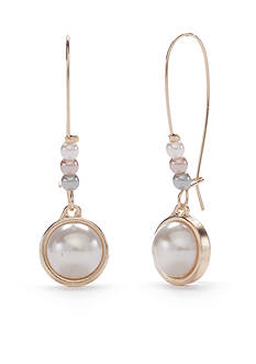 New Directions Gold-Tone Marvelous Pearl Cluster Earrings