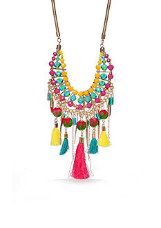 New Directions® Gold-Tone Tropic Girl Tassel Statement Necklace