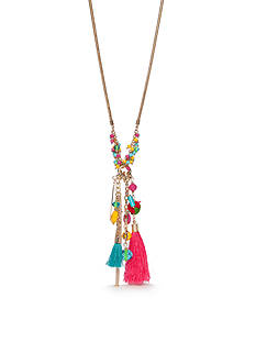New Directions® Gold-Tone Tropic Girl Long Tassel Pendant Necklace