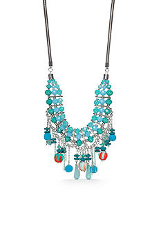 New Directions® Silver-Tone Tropic Girl Aqua Statement Necklace