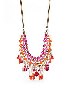 New Directions® Gold-Tone Tropic Girl Fuchsia Statement Necklace