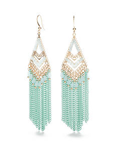 New Directions Gold-Tone Mint Tassel Chandelier Earrings
