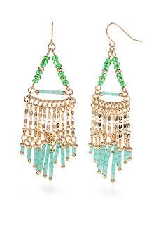 New Directions Gold-Tone Mint Tassel Chandelier Earrings