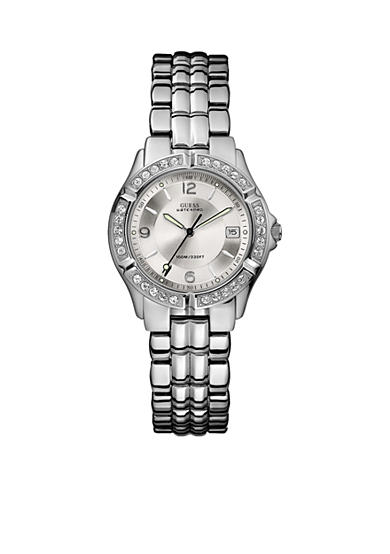 GUESS Womens Crystallized Silver-Tone Waterpro Analog Watch