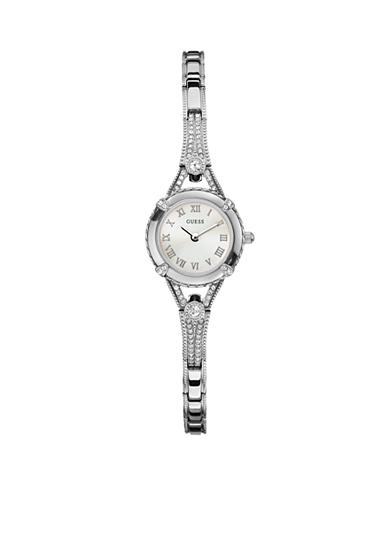 GUESS Women's Feminine Silver-Tone Bracelet Watch