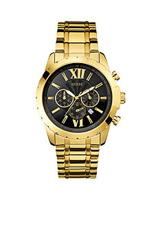 GUESS® Black and Gold-Tone Roman Numeral Chronograph Watch