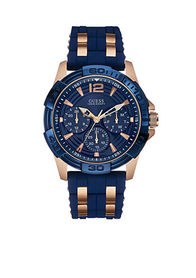 GUESS® Blue and Rose Gold-Tone Masculine Sport Watch