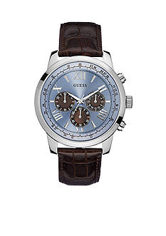 GUESS Ice Blue and Brown Leather Steel Chronograph Watch
