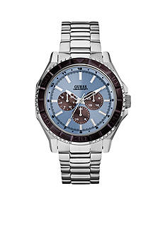 GUESS Ice Blue and Brown Masculine Sport Dress Multifunction Watch