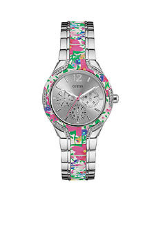 GUESS Women's White And Colorful Floral Watch