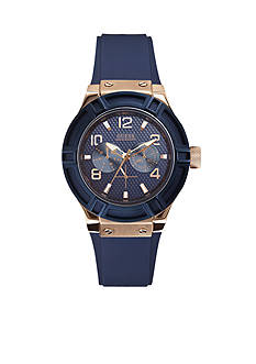 GUESS Women's Blue and Rose Gold-Tone Standout Style Watch
