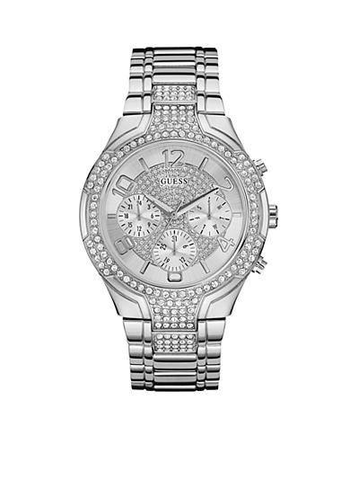 GUESS® Women's Silver-Tone Crystal Watch