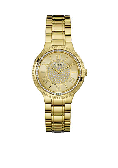GUESS® Women's Gold-Tone And Crystal Roman Numeral Watch
