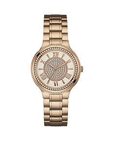 GUESS Women's Rose Gold-Tone and Crystal Watch