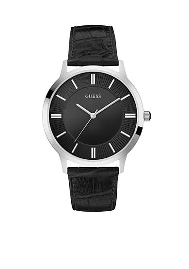 GUESS® Men's Stainless Steel and Black Leather Watch