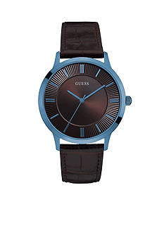 GUESS Men's Blue Ionic Plated and Brown Dress Watch