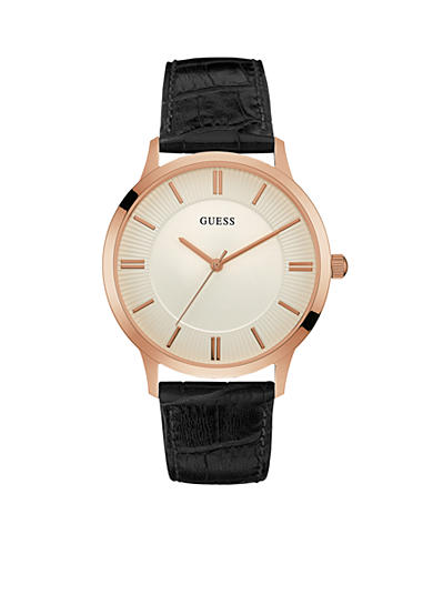 GUESS® Rose Gold-Tone Guess And Black Classic Leather Watch