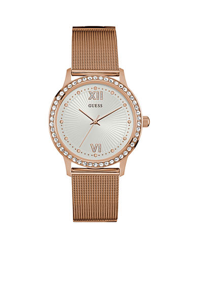 GUESS® Women's Rose Gold-Tone and Crystal Watch