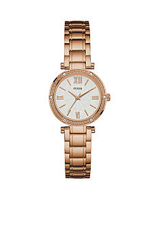 GUESS Women's Rose Gold-Tone Petite Dress Watch