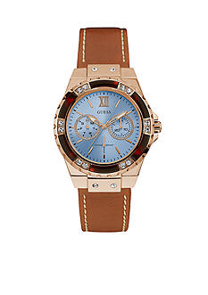 GUESS Women's Blue and Rose Gold-Tone Watch