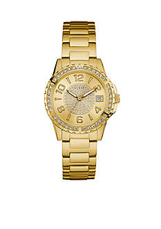 GUESS Wwomen's Gold-Tone and Crystal Sport Watch