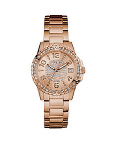 GUESS Rose Gold-Tone And Crystal Steel Sport Watch