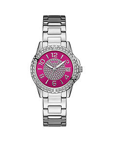 GUESS Women's Silver-Tone Pink and Crystal Stainless Steel Watch