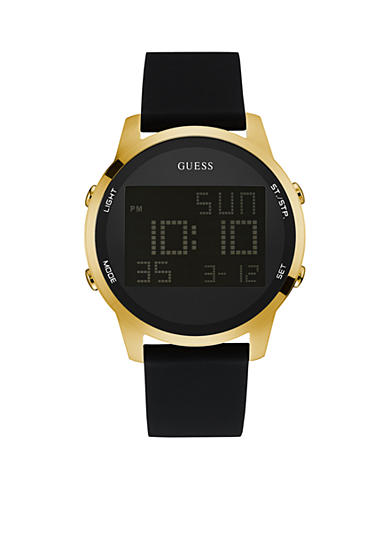 GUESS® Men's Gold-Tone and Black Silicone Digital Watch