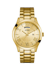 GUESS Men's Gold-Tone Classic Bracelet Watch