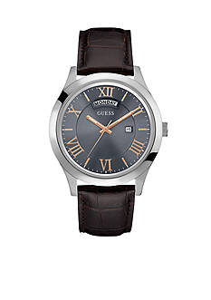 GUESS Silver-Tone Gray Brown Leather Strap Watch