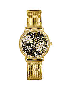 GUESS Gold And Black Floral Mesh Guess Watch
