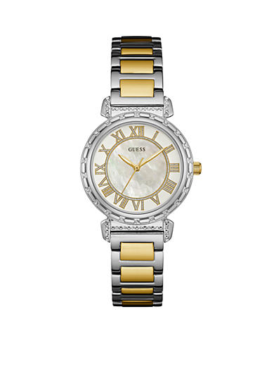 GUESS® Silver-Tone And Gold-Tone Mother Of Pearl Dial Watch