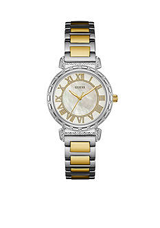 GUESS Silver-Tone And Gold-Tone Mother Of Pearl Dial Watch