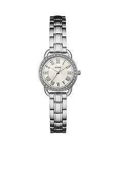 GUESS Womens Silver-Tone Petite Classic Watch