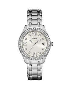 GUESS Silver-Tone Guess And Crystal Classic Watch