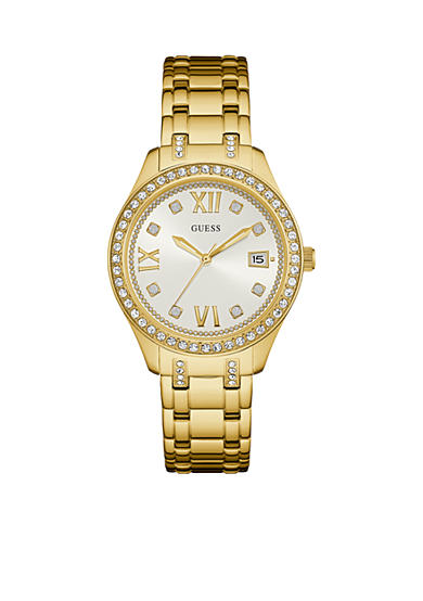 GUESS® Gold-Tone And Crystal Classic Sport Watch