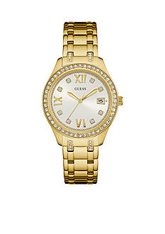 GUESS Gold-Tone And Crystal Classic Sport Watch