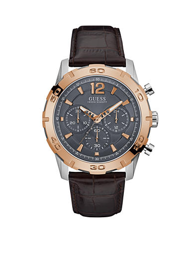 GUESS® Rose Gold-Tone And Brown Leather Chronograph Watch