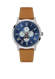 GUESS Men's Silver-Tone Blue And Camel Moon Phase Watch