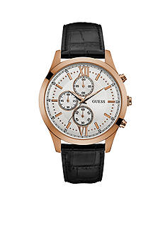 GUESS Rose Gold-Tone Guess And Black Leather Chronograph Watch