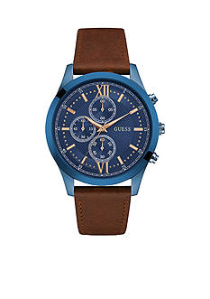 GUESS Men's Blue and Brown Classic Leather Chronograph Watch