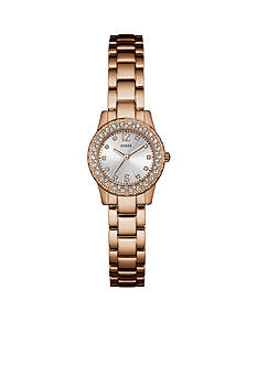 GUESS® Rose Gold-Tone Steel And Crystal Petite Watch