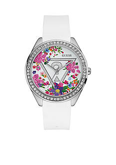 GUESS Women's Oversized Iconic Glitzy Floral Watch