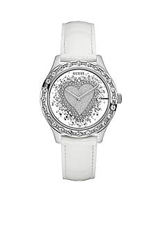 GUESS Women's Glittery White See Thru Heart Watch