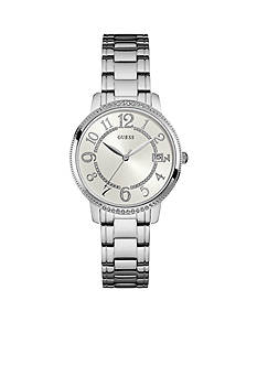 GUESS Silver-Tone Classic Midsize Dress Watch