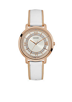 GUESS Rose Gold-Tone And White Leather Analog Watch