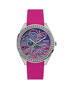 GUESS Women's Silver-Tone Tropical Inspired Pink Silicone Strap Watch