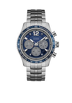GUESS® Silver-Tone And Blue Chronograph Watch
