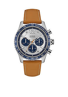 GUESS® Men's Silver-Tone Blue and Camel Chronograph Watch